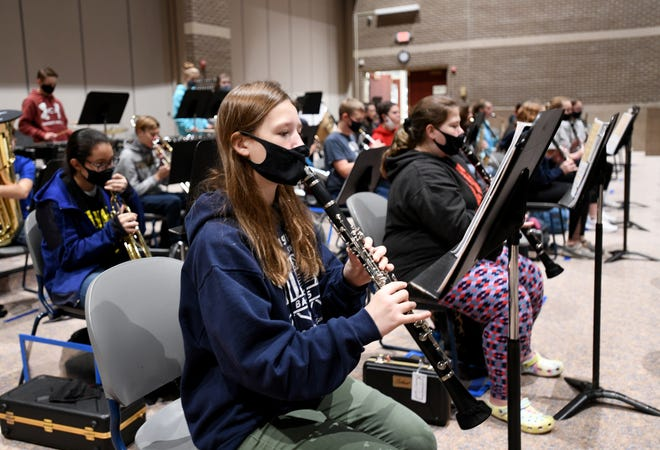 Louisville Middle School's band, including eighth-grader Gina Flinner, practiced at Louisville Middle School on Tuesday. Unofficial election results show that voters rejected the school district's levy request for a third time, which could affect some activities at the middle school next school year.