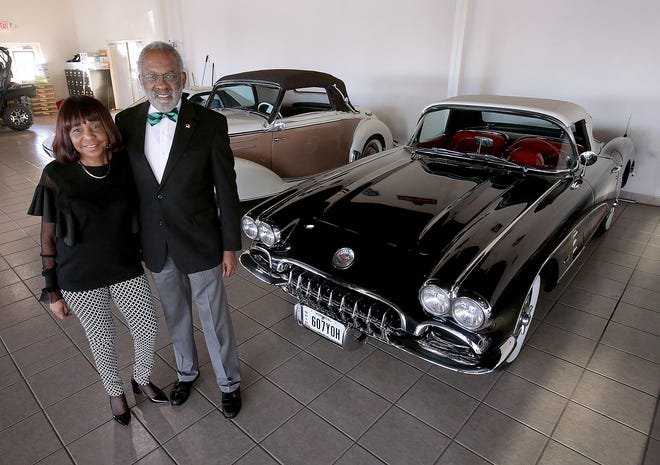 Kaleen and George Lemon with their 1959 Corvette Convertible they are donating for a raffle to raise funds for the Aultman Cancer Center.
