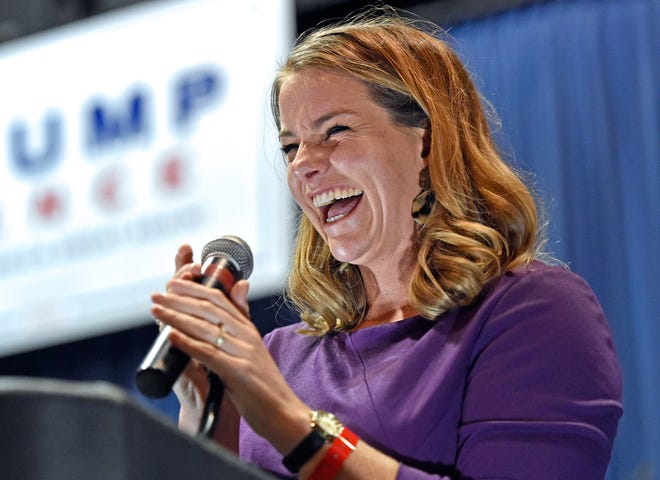 Republican Navy veteran Fiona McFarland makes her victory speech Nov. 3 at Robarts Arena in Sarasota. McFarland flipped the District 72 state House seat spanning much of northern Sarasota County from Democratic control, a major victory for the local GOP.