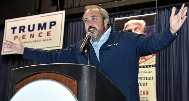 Republican Joe Gruters won reelection Nov. 3, 2020, to the Florida Senate, representing District 23, covering Sarasota County and part of Charlotte County. Here he gives his victory speech at Robarts Arena, in Sarasota.