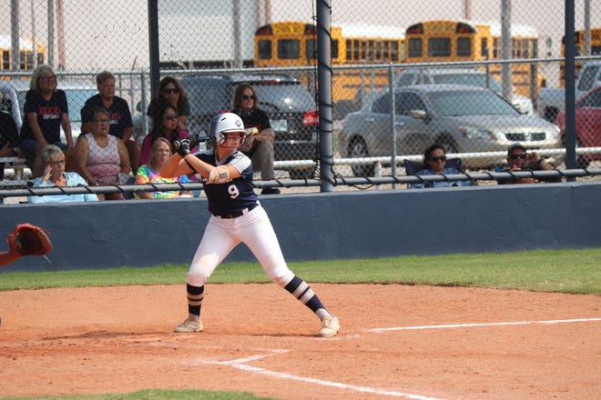 Shawnee's Carly Torbett (9) waits on the delivery from the pitcher during the 2020 season. Torbett was named to the All-State East Team as a catcher on Tuesday.