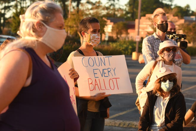 Dozens of people came out for a rally in front of the New Hanover County Board of Elections Wednesday Nov. 4, 2020 in Wilmington, N.C. The event was to help celebrate everyone who worked during the election and continues to count each vote that was cast by local voters.[KEN BLEVINS/STARNEWS]