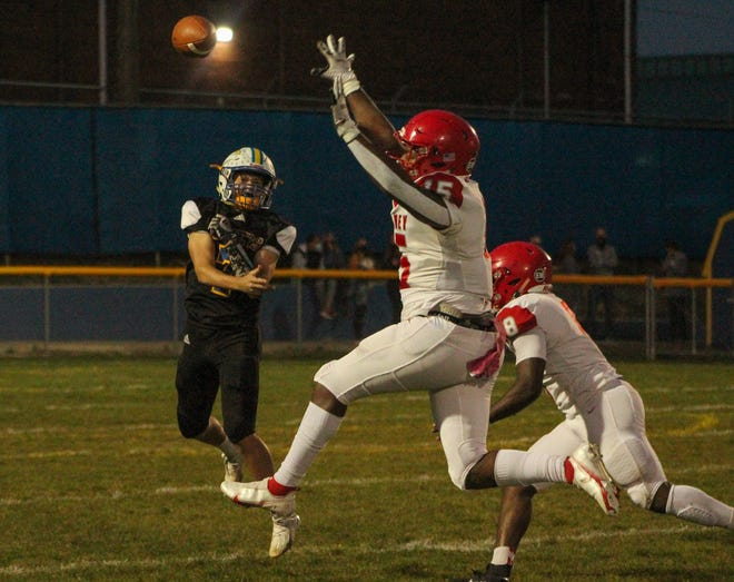 Coventry sophomore quarterback Chase Rankin throws a pass during the playoff loss to Youngstown Chaney. Rankin finished the year with 1,408 yards passing and 15 touchdowns.