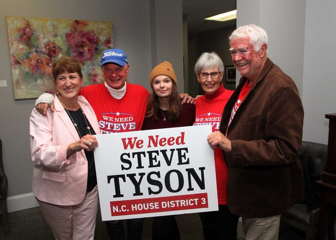 Jana Tyson, from left, NC House of Representatives District 3 candidate Steve Tyson, Kaylee Tyson, Bonnie Burch and Barton Phillips celebrate Tyson's projected win on election night at a reception held with campaign supporters at New Bern Golf & Country Club in New Bern, NC, Nov. 3, 2020. [Gray Whitley / Sun Journal Staff]