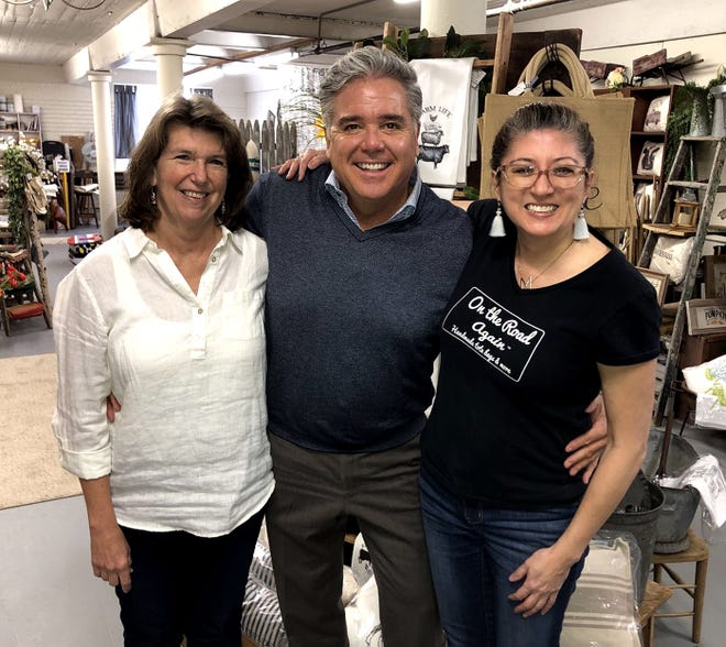 Dawne Dragonetti (left) of Pillows and Things and Mary Dimouro of On the Road Again with Boston TV personality Doug Meehan when they filmed a Made in Mass. segment.