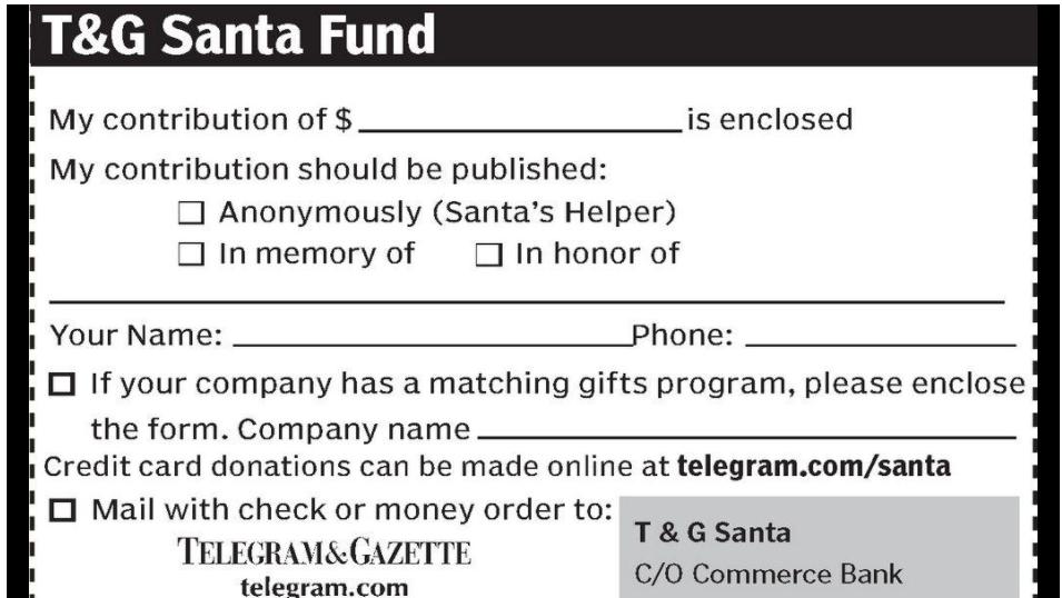 T&G Santa card