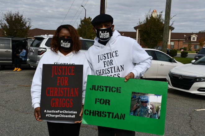 Dolly and Tony Griggs, the parents of Christian Griggs, attended Saturday's and Tuesday's marches in Graham to keep the memory of their son alive.