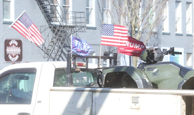 A truck with Trump flags was spotted driving through the square in New Philadelphia Tuesday.