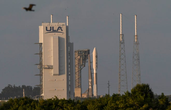 An Atlas V rocket is readied for launch. From Cape Canaveral Air Force on Wednesday, Nov. 4, 2020.  The rocket is carrying a classified payload for the National Reconnaissance Office.