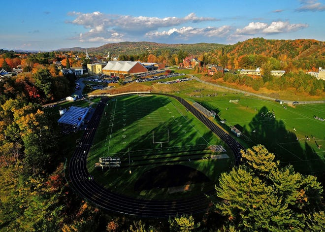 The view above St. Johnsbury Academy's Fairbanks Field on Wednesday, Oct. 10, 2018.