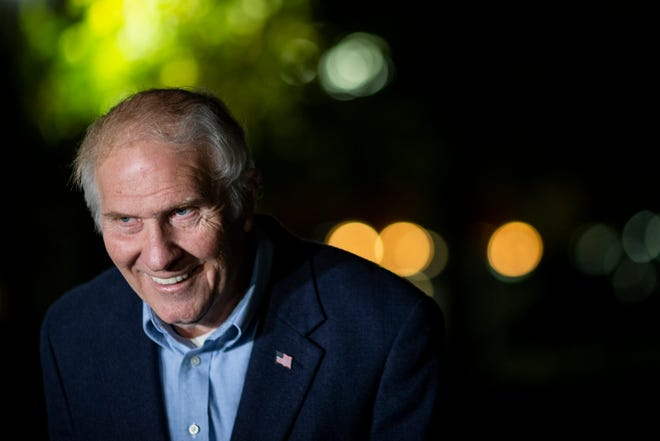 Rep. Steve Chabot declares victory in Ohio's 1st Congressional District during a press conference at Lytle Park in downtown Cincinnati on Tuesday, November 3, 2020.