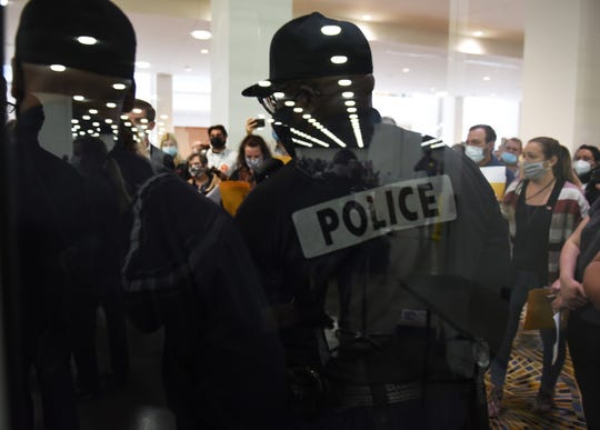 Detroit Police officers prevented MIGOP election challengers from entering the Central Counting Committee hall at the TCF Center in Detroit on November 4.