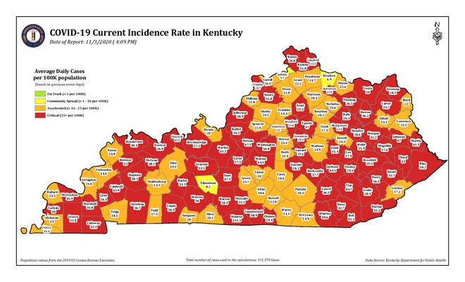 This color-coded map shows the current COVID-19 incidence rate in Kentucky counties as of Nov. 3 at 4:09 p.m.