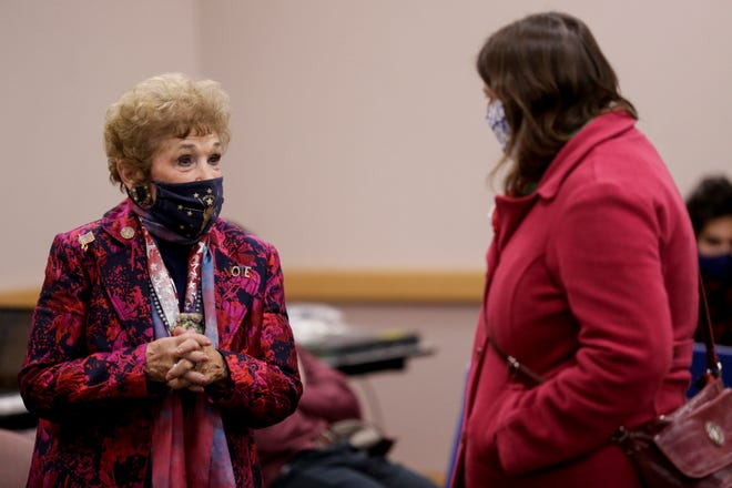 State Rep. Sheila Klinker, D-Lafayette, talks with Margaret Hass, a Tippecanoe County Council candidate, at the Tippecanoe County Office Building, Tuesday, Nov. 3, 2020 in Lafayette.