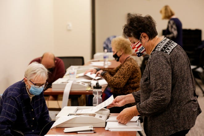 Election workers scan mail-in ballots, Tuesday, Nov. 3, 2020 in Lafayette.
