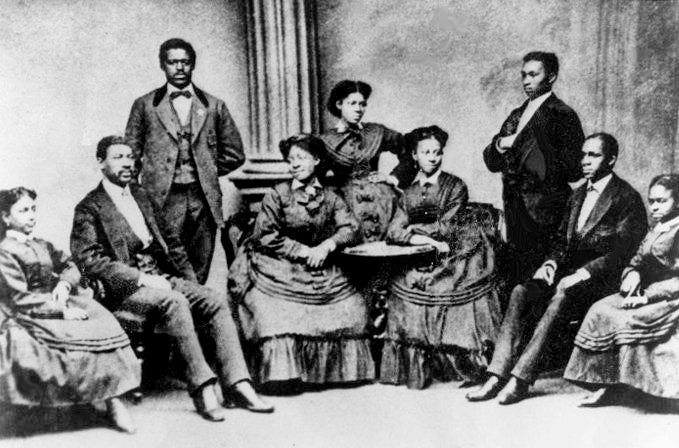 The nine original members formed the singing group, the Jubilee Singers, in 1871 and kept Fisk University from closing and brought lasting respect to the black spiritual through their tours in America and Europe.