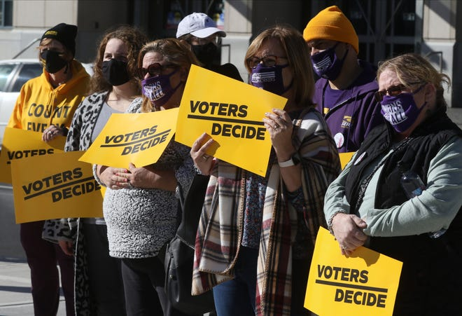 """A group of protesters gather outside the Lackawana Courthouse to """"Count Every Vote"""" in Scranton, Pennsylvania the day following the national election as Pennsylvania continues to count votes."""
