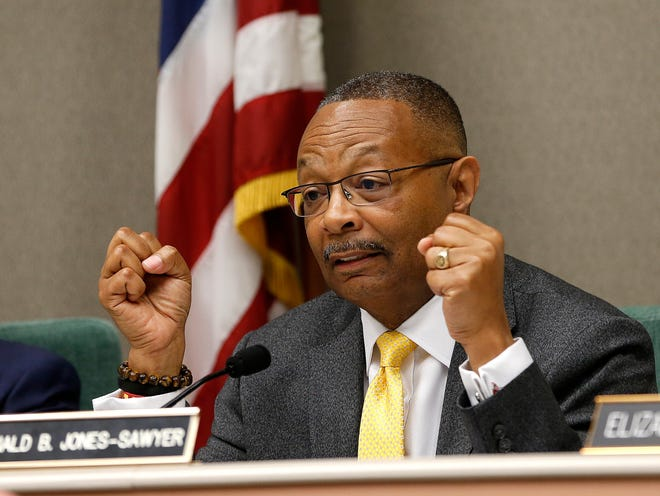 Assemblyman Reginald Jones-Sawyer, D-Los Angeles, chairman of the Assembly Public Safety Committee, discusses legislation to restrict the use of deadly force by police, during a hearing on the measure in Sacramento, in April.