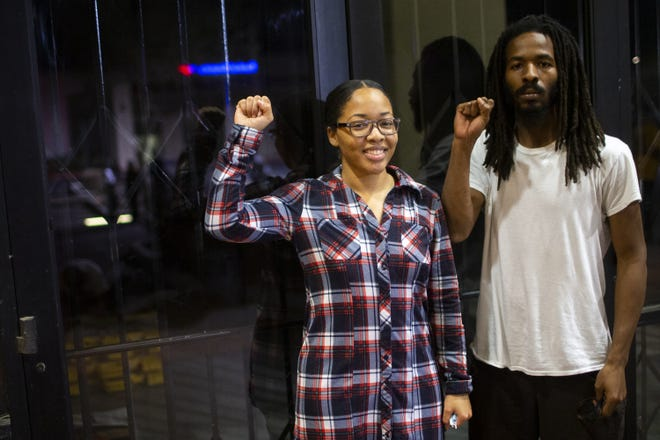 Timitria Thompson and her brother Adrion Thompson stand in front of a closed polling location at Southern Plaza where they say they were denied their right to vote in the 2020 election in Phoenix on Nov. 3, 2020.