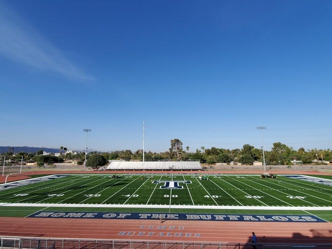 Tempe High School's new stadium field will be dedicated during halftime of its football game Friday, Nov. 6, 2020. Photo courtesy of Tempe Union High School District