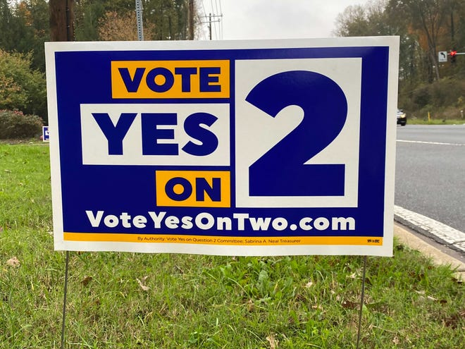 A sign urges Maryland voters to pass a sports betting ballot question.