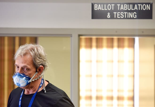 Minnehaha County Auditor Bob Litz facilitates ballot counting on Wednesday, November 4, at Election Center in Sioux Falls.