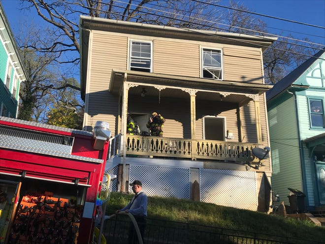 A fire damaged this home Monday on West Frederick Street in downtown Staunton.