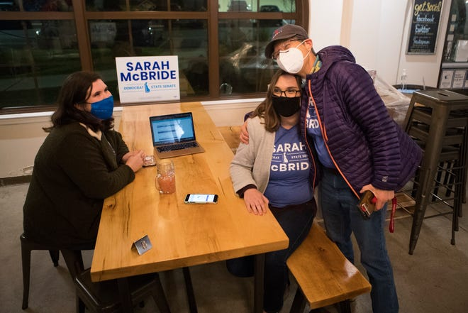Sarah McBride, center, and her campaign manager Phoebe Lucas, left, greet friends and family after McBride claimed victory in the race for state senate seat 1 Tuesday, Nov. 3, 2020, at Wilmington Brew Works.