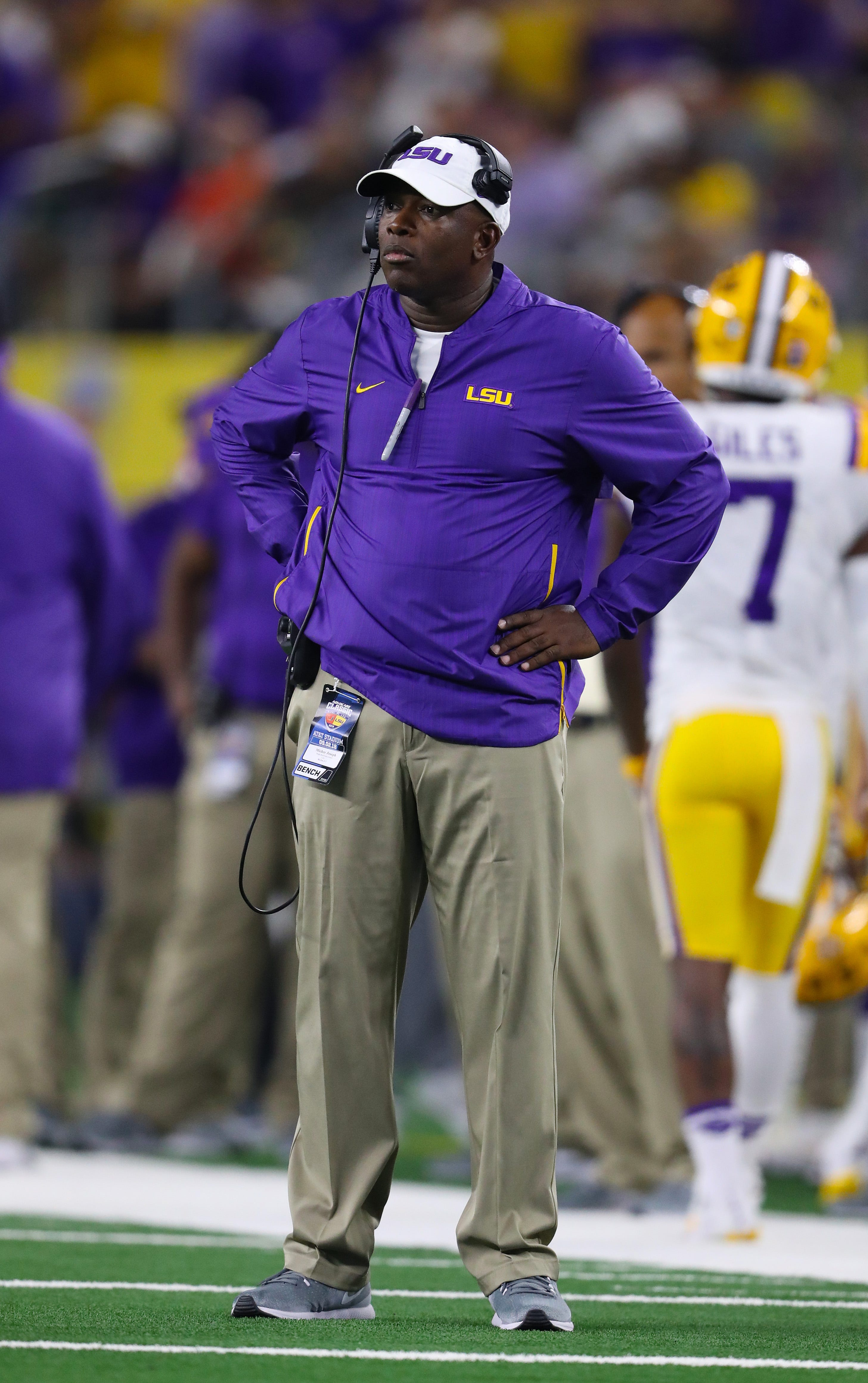 LSU wide receivers coach Mickey Joseph on the sidelines during the game against the Miami Hurricanes at AT&T Stadium on Sep 2, 2018.
