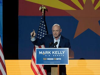 Democratic candidate Mark Kelly giving at speech at Congress Hotel on Nov 3rd, 2020.