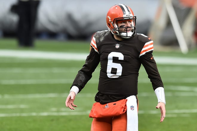 Cleveland Browns quarterback Baker Mayfield (6) walks off the field during a time out in the first half against the Las Vegas Raiders at FirstEnergy Stadium.
