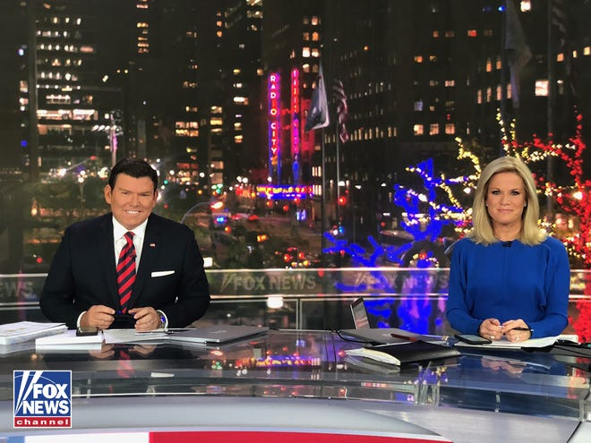Brett Baier, left, and Martha MacCallum anchor election night coverage on Fox News Channel.