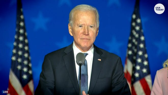 Joe Biden says 'we believe we're on track to win this election'