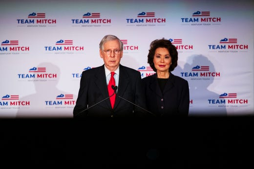 Senate Majority Leader Mitch McConnell (R-KY), delivers his victory speech next to his wife, Elaine Chao, at the Omni Louisville Hotel on November 3, 2020 in Louisville, Kentucky. McConnell has reportedly defeated his opponent, Democratic U.S. Senate candidate Amy McGrath, marking his seventh consecutive U.S. Senate win.