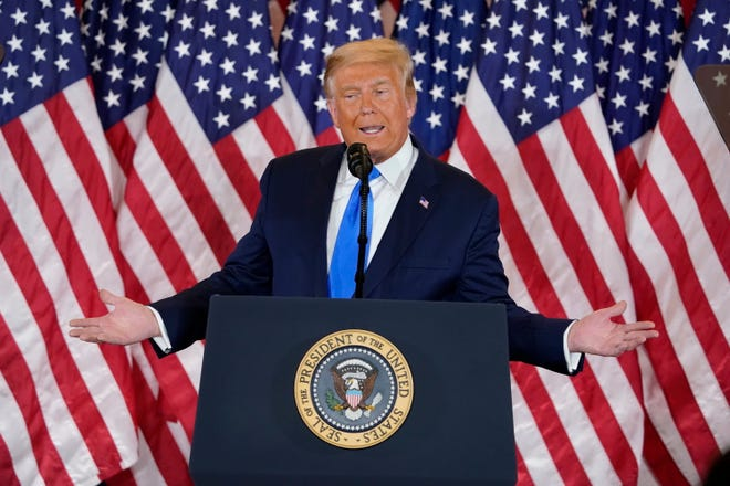 President Donald Trump speaks in the East Room of the White House, early Wednesday, Nov. 4, 2020, in Washington.