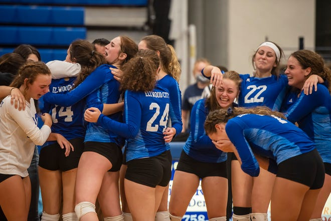Ellwood City volleyball players are all smiles and tears after they beat Avonworth in the WPIAL Class 2A semifinal at Lincoln High School Wednesday.