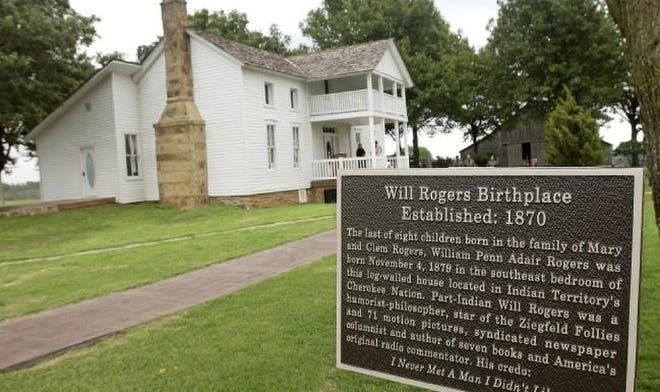 The Will Rogers Birthplace Ranch is shown near Oologah. The house was moved to its current location on the hill overlooking Lake Oologah before the lake was built.