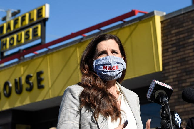 U.S. House candidate Nancy Mace addresses supporters outside a Waffle House where the Republican once worked on Wednesday in Ladson. Mace defeated Democratic U.S. House Rep. Joe Cunningham in South Carolina's 1st District.