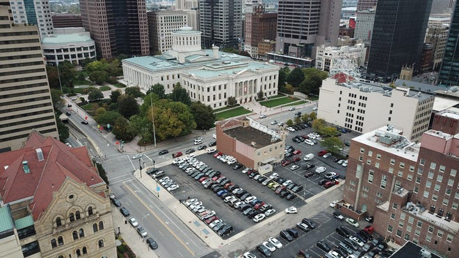 High above Statehouse square in downtown Columbus.