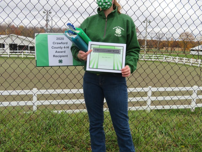 Crawford County 4-H Recognition Event Held Anne Meszaros was recognized as one of the 2021 Outstanding 4-H'ers at a recent drive-through event.