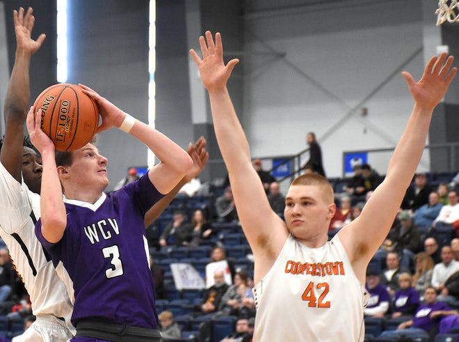 Andrew Soron (left) and the West Canada Valley Indians were part the boys' half of a Section III basketball Class C semifinals pairing of games between their school and Cooperstown in February before the coronavirus pandemic halted the state playoffs and canceled the 2020 spring sports season.