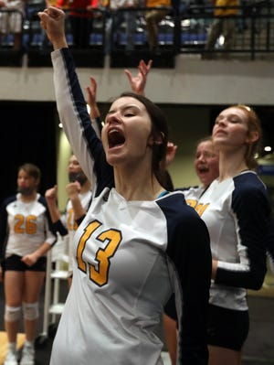 Notre Dame High School's Molly Johnson (13) cheers on her teammates during their Class 1A state semifinal match against Le Mars Gehlen, Wednesday Nov. 4, 2020 on court 2 of the Alliant Energy PowerHouse Arena in Cedar Rapids.