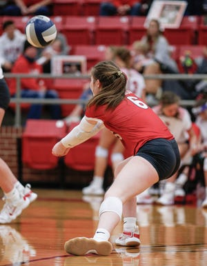 Glen Rose libero Cam Hinton recorded 28 digs in the loss to Iowa Park.