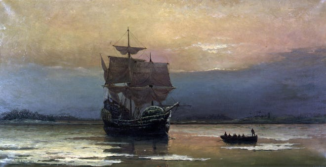 """""""Mayflower in Plymouth Harbor"""" by William Halsall, 1882."""