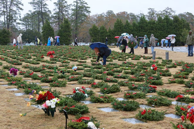 Citizens turn out to participate in a past Wreaths Across America event at Coastal Carolina State Veterans Cemetery in Jacksonville.