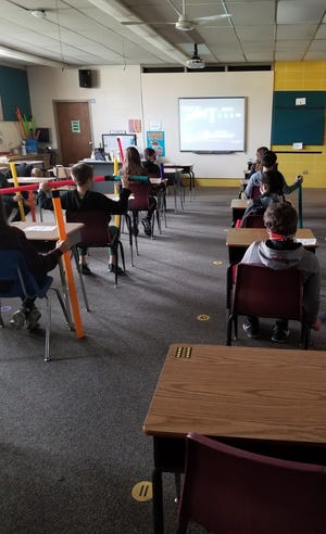 Desks have been spaced apart in the music classroom at Lee Eaton.