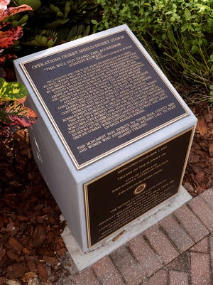 The Operations Desert Shield/Desert Storm Monument is pictured at Veterans Memorial Park in Lakeland. The Lakeland Rotary clubs will join together to unveil a new monument honoring Desert Storm veterans at 10 a.m. Saturday in Veterans Memorial Park.