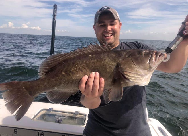 Joseph Ramirez of Miami caught this 28-inch gag grouper while trolling the shipping channel in lower Tampa Bay recently with Capt. John Gunter of Off The Hook Charters.