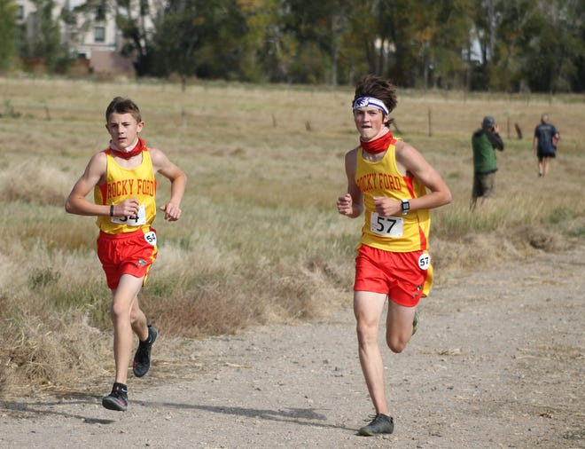 Rocky Ford High School's Caden Miller (left) and Josh Snyder in a race earlier this season. Both runners were named second team selections in the Class 2A All-State team.