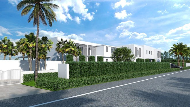The Architectural Commission has approved an addition, seen on the left half of this rendering, for a contemporary-style beachfront house at 1045 S. Ocean Blvd.